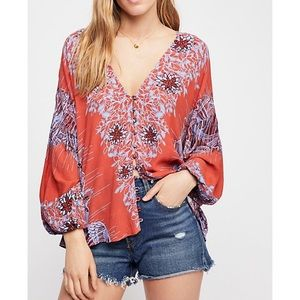 Free People Birds of a Feather Printed Top Sz L